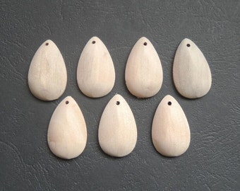 10Pcs 32x20mm  One side flat Natural Wood tear drop pendant  No Varnish (NW033)