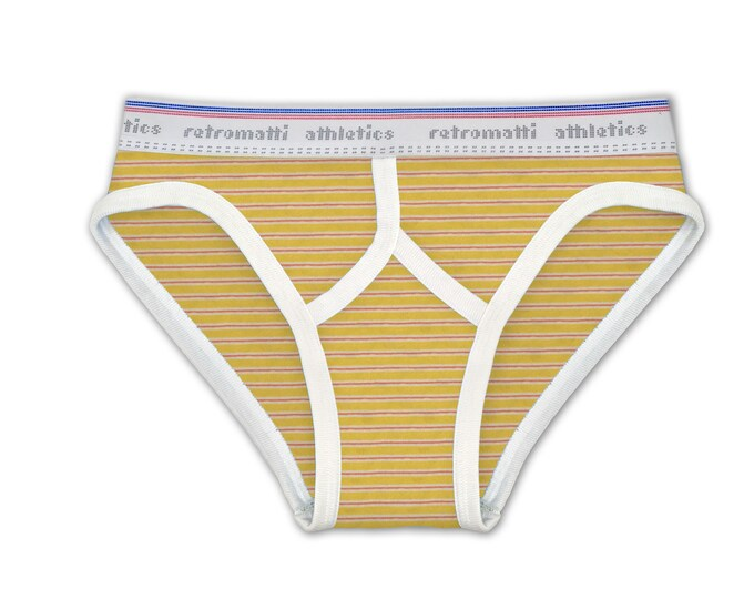 Retro low rise briefs in Red & Yellow Stripes