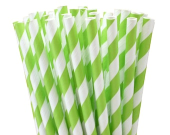 25 Lime Green Striped Paper Straws with Printable Party Flags PDF File