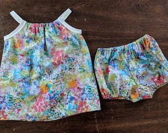 Baby girl's/little girls abstract print pillow case summer dress w/ matching diaper cover