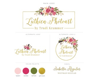 Mini Branding Package, Photography Logo and Watermark, Watercolor Floral Premade Marketing Kit bp13