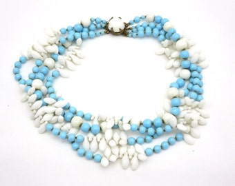 Milk Glass Beaded Necklace - Turquoise and White Designer Eugene 1950s Costume Jewelry