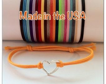 Dainty heart slide bracelet, charm bracelet, friendship bracelet