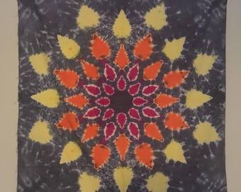 Tie dye mandala tapestry red orange yellow star tye dye wall decor