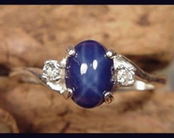 Blue Star-Created Star Sapphire Tpz Ring sz  7,  8 Handmade in Vermont Sterling Silver USA