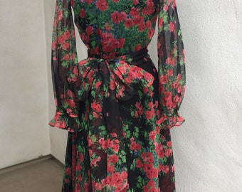 Vintage 1970s maxi chiffon Floral black pink green gown dress sheer by Rona New York Sz Medium