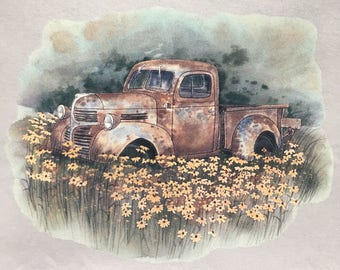 Old Pickup Truck in field of flowers t shirt