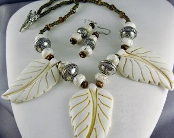 Lovely Magnesite Leaves with matching Magnesite stones and Czech Glass Beads