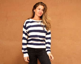 90s striped OXFORD crest soft ANCHOR embroidered sweater top blue and white