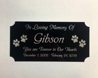 """Pet Memorial 3""""x5"""" Black Aluminum Laser Engraved Paw Print Urn Plate Personalized Commemorative Memory Plaque-Customized Plate Dog or Cat"""