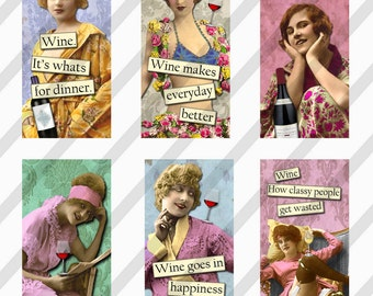 Digital Collage Sheet 1 X 2 inch  Domino sized Slides Wine Ladies (Sheet no. FS206) Instant Download
