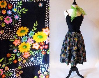 Vintage 50s Skirt, Rockabilly Skirt, 1950 Full Skirt, Black Cotton Skirt, Flower Print Gathered Skirt