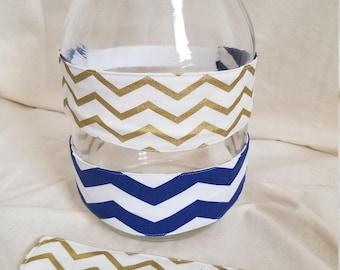 Reversible Headband -white and royal blue chevron/white and gold chevron
