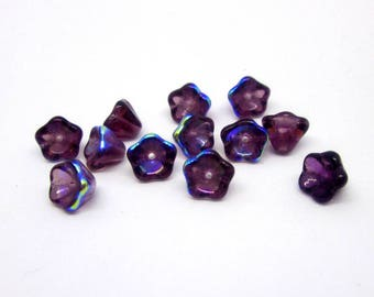 21 - 8 x 6 mm - Top Drilled; Handmade; AB, transparent, pressed glass beads imported from the Czech Republic
