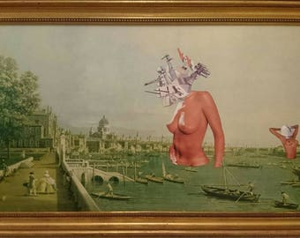 Titanic Weaponised Dirty Mermaids - collage on vintage framed print.