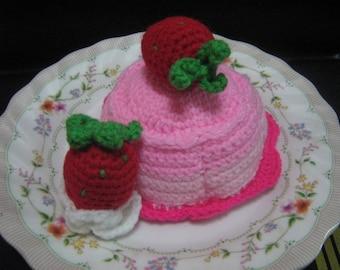 Crochet Food Pattern Dessert Crochet Pattern PDF Instant Download Strawberry Pudding