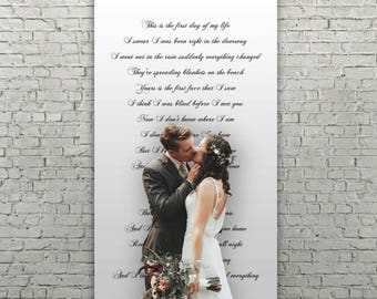 """Lyrics """"First Day Of My Life"""" Handwritten calligraphy style wedding ceremony backdrop aisle runner for your altar with vows, and love songs"""