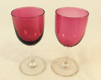 Pair Of Cranberry Wine Glasses