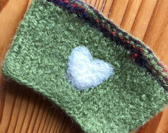 Knit and Felted Coffee Cozy