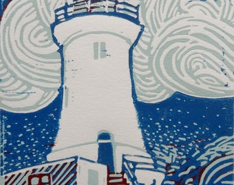 Corbiere Lighthouse Original Limited Edition Linocut Print Small Format Art