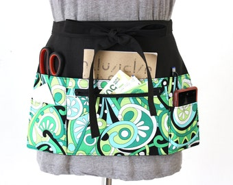 Waist Apron - Half Apron - Teacher Apron - Vendor Apron - Waitress apron - cash apron with zipper pocket - craft show apron - utility apron