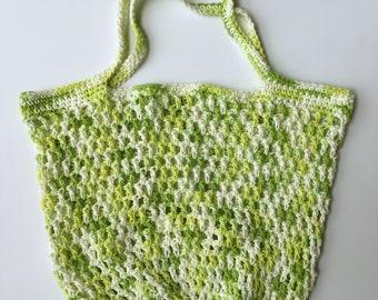 Springtime Mesh Market Bag - Handmade Reusable Grocery Bag - Green and White