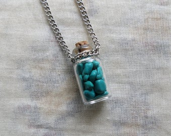magnesite small glass bottle necklace
