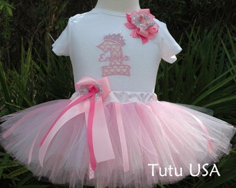 First birthday girl tutu outfit , personalized , pink tutu