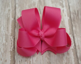 """Girls Hair Bow Hot Pink Double Layered 4"""" Boutique Hairbow Hot Pink Girls Hair Bow Hot Pink Toddler Hair Bow"""