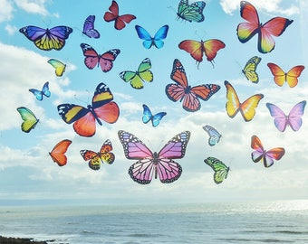 Peel and stick Realistic Colourful Butterflies Butterfly window stickers Static Cling no mess