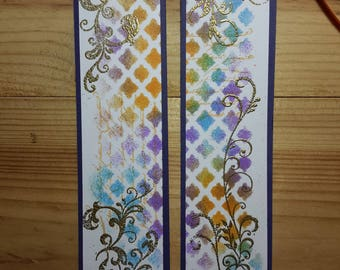 Set of two bookmarks shabby chic, original design with inks (2)