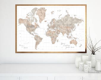 Detailed world map etsy highly detailed world map print neutrals watercolor world map personalized world map poster gumiabroncs Image collections