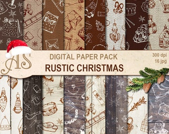 Digital Rustic Christmas Toys Paper Pack, 16 woodeen bulap Scrapbooking papers, hand draw, doodle Digital Collage, Instant Download, set 340