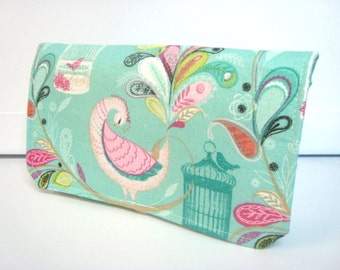 40% Off Coupon Organizer / Budget Organizer Holder - Attaches to Your Shopping Cart - Turquoise Paisley Feathers