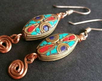 Spiral of life Nepalese Turquoise Lapis Lazuli Red Coral Leaf Copper Spirals Zen Earrings