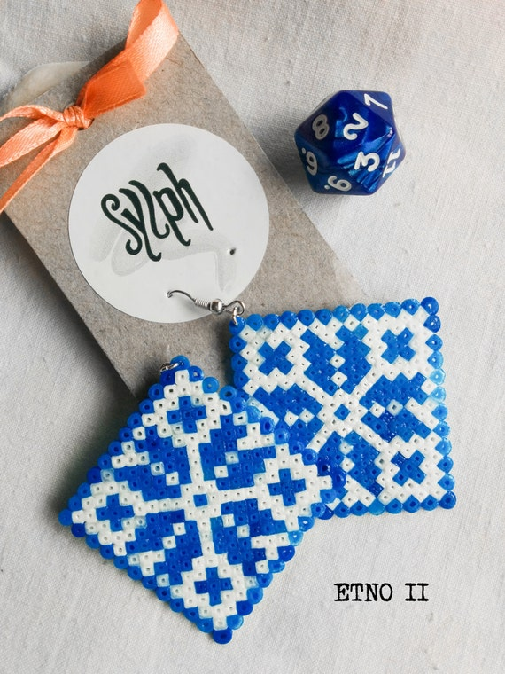 Earrings made of Hama Mini Beads - Etno II