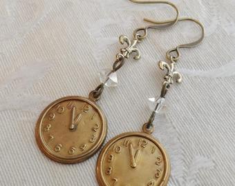 It's Almost Midnight Cinderella, Clock Earrings, Fleur-de-lis, Vintage Glass Crystal, Brass