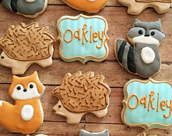 woodland themed birthday/cookies/animal cookies/birthday party/ 1 dozen