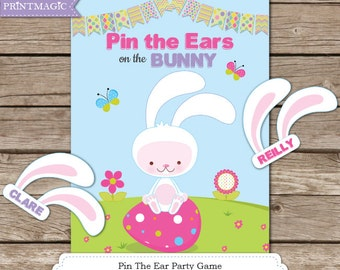 Pin the Ears on the Bunny Printable Party Game - 3 Sizes Included - Easter Game - Easter Children's Game - Easter Bunny Game