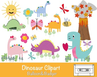 Dinosaur Clipart | Scrapbooking | Invitations | Cake Toppers | Craft