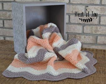 Crochet Ripple Baby Blanket - Crochet Baby Blanket - Ripple Baby Blanket - Baby Blanket