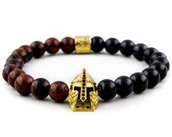 Bracelet: The Golden Knight | Mahogany Jasper & Black Natural Obsidian