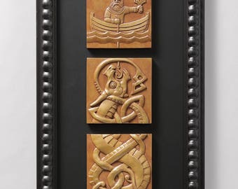Fishing for Jormungand (Brass) Limited edition of 50 signed/numbered, framed sculptural reliefs by Aric Jorn.