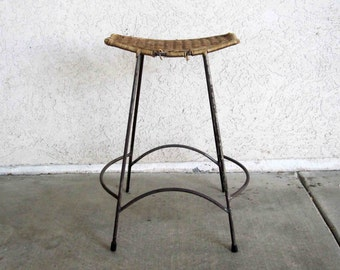 Vintage Arthur Umanoff Wicker & Iron Bar Stool. Circa 1960's.