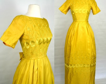 1970s Golden Yellow Formal Floor Length Dress with Floral Embroidery