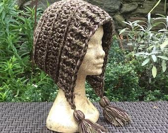 Chunky Slouch Hat Bonnet. Crochet Hat, Dreadlock Hat, Ear Warmer