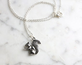 Silver Toned Squirrel Charm Necklace