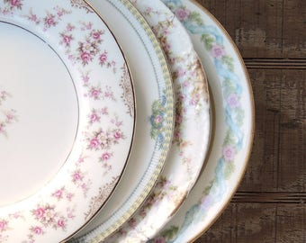 Mismatched Salad Plates Set of 4 Noritake Plates Limoges Plates Replacement China Bridesmaid Luncheon