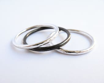 Three Simple Stacking Rings - Sterling Silver Rings - Mix Style - Oxidized Hammered