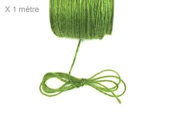 Hemp medium green, 2 mm leather cord